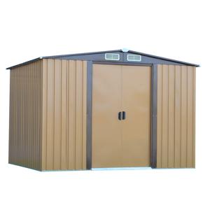 Plechový záhradný domček na náradie, svetlohnedá/tamovohnedá, 2, 6x2m, HAMAL TYP 2