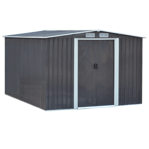 Plechový záhradný domček na náradie, sivá/biela, 2, 6x3, 1m, HAMAL TYP 3