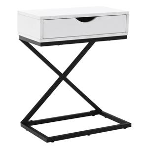 Príručný/nočný stolík, biela/čierna, VIRED