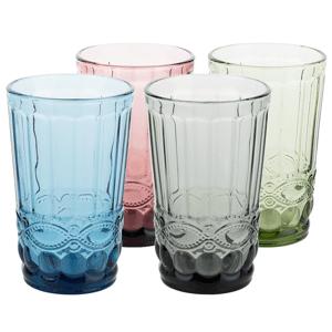 Farebné vintage poháre na vodu, 4ks, 350ml, SAVOY TYP 1