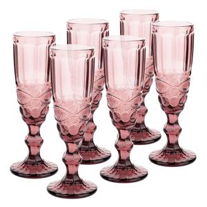 Vintage sklené poháre na šampanské, 6ks, 150ml, ružová, FREGATA TYP 4