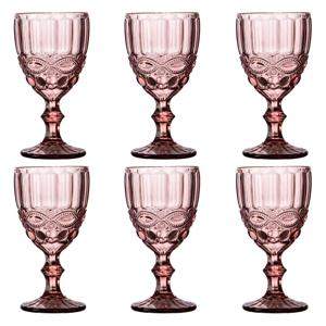 Poháre na víno, set 6 ks, 240 ml, ružová, vintage, FREGATA TYP 3