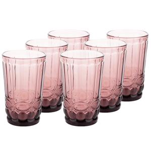 Vintage sklené poháre na vodu, 6ks, 350ml, ružová, FREGATA TYP 1