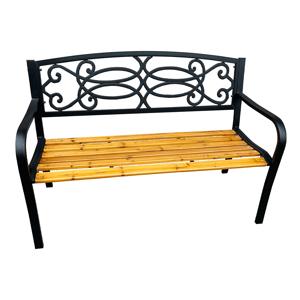 Záhradná lavička, čierna/prírodná, ROTINA NEW
