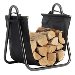 Kôš na drevo, čierna, kované železo/látka, SARAO