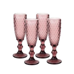 Retro poháre na šampanské, 4ks, 150ml, červená, VERITAS TYP 4