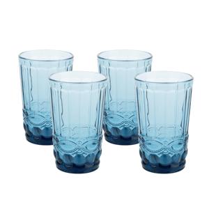 Vintage poháre na vodu, 4ks, 350ml, modrá, SAVOY TYP 1