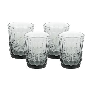 Vintage poháre na vodu, 4ks, 240ml, sivá, SAVOY TYP 2