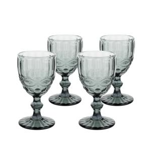 Vintage poháre na víno, 4ks, 240ml, sivá, SAVOY TYP 3