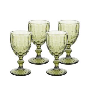 Vintage poháre na víno, 4ks, 240ml, zelená, SAVOY TYP 3