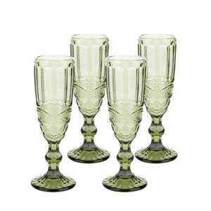 Vintage poháre na šampanské, 4ks, 150ml, zelená, SAVOY TYP 4
