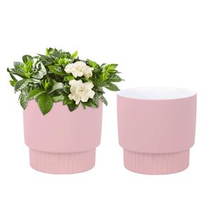 Hlinené kvetináče, set 2 ks, ružová, ABRIO