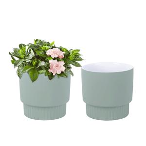 Hlinené kvetináče, set 2 ks, zelená, ABRIO