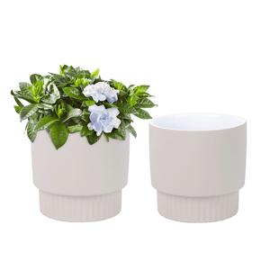 Hlinené kvetináče, set 2 ks, béžová, ABRIO
