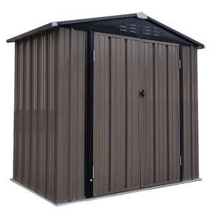 Plechový záhradný domček na náradie, hnedá/antracitová, 2x1,3x2,1 m, RADOL