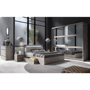 Spálňová zostava (skriňa/posteľ/2ks nočný stolík), dub welington, TOGOS