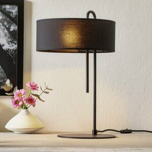 ACB ILUMINACIÓN Textilná stolná lampa Clip, čierna, výška 53cm