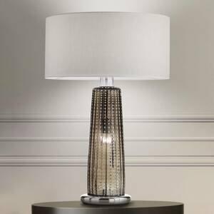 Ailati Stolná lampa Perle, tienidlo z textilu, sklo sivé