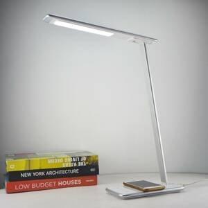 Aluminor LED lampa na písací stôl Orbit strieborná indukcia