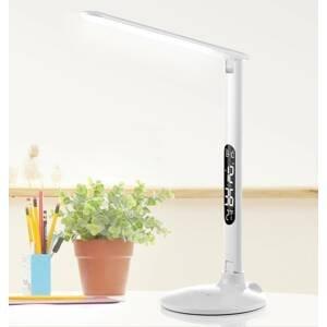 Aluminor LED lampa na písací stôl Success s hodinami, biela
