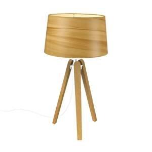 Aluminor Stolná lampa Essence LT, tienidlo vo vzhľade dreva