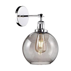 ALTAVOLA DESIGN Nástenné svietidlo LA035 E27, chrómové/dymové sklo