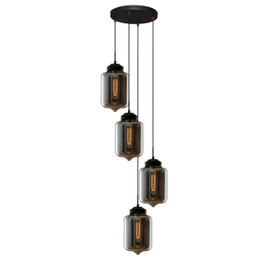 ALTAVOLA DESIGN Závesná lampa LA011 4-pl. dymová sivá/čierna