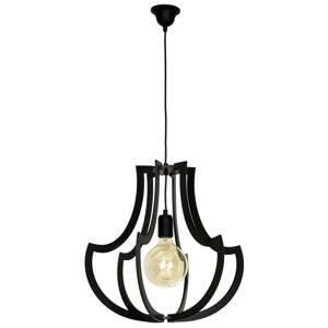 EULUNA Závesná lampa 877 s drevenými tyčami, čierna