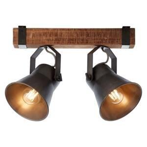 Brilliant Stropné svietidlo Plow, čierne/drevo tmavé