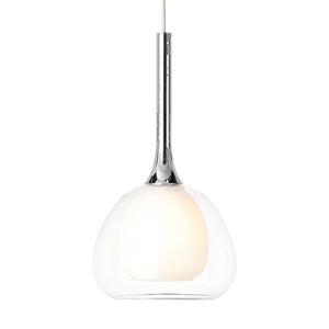 Brilliant Závesná lampa Hadan, 1-pl. sklo biela/priehľadná