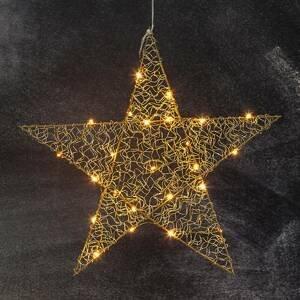 STAR TRADING Päťcípa LED hviezda Loop 47cm mosadz