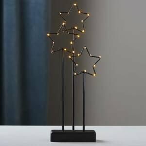 STAR TRADING Čierna 3-hviezdna dekoračná lampa Stary s LED