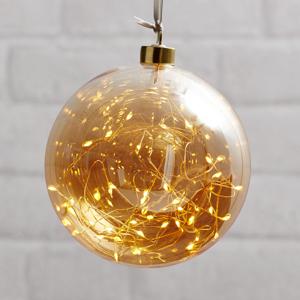 STAR TRADING LED deko guľa Glow, skla, Ø 15cm jantárová