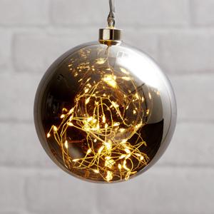 STAR TRADING LED deko guľa Glow, skla, Ø 15 cm dymová sivá