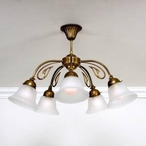 Berliner Messinglamp Päť-plameňové stropné svietidlo OLGA mosadz
