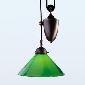 Berliner Messinglamp Závesná lampa Jonas antickej farby zelené tienidlo