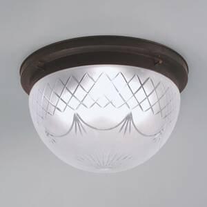 Berliner Messinglamp Stropné svietidlo Karolin zdobené, tienidlo sklo