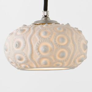 Berliner Messinglamp Porcelánová závesná lampa Morský jež, nikel