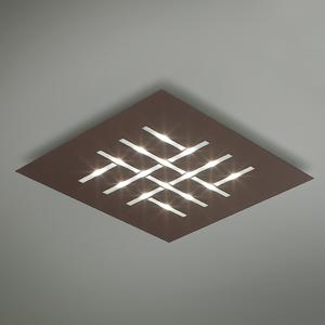 BRAGA Pattern – štvorcové stropné LED svetlo, hnedé