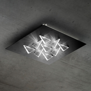 BRAGA Stropné LED svietidlo Cristalli 50 x 50cm čierne