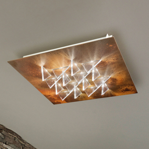 BRAGA Stropné LED svietidlo Cristalli 50 x 50cm hrdzavé