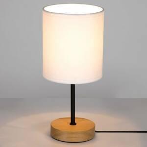 BRITOP Stolná lampa Corralee drevo biele látkové tienidlo