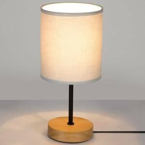 BRITOP Stolná lampa Corralee, drevo sivé látkové tienidlo
