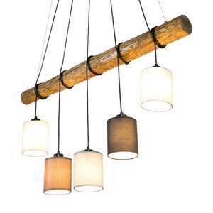 BRITOP Závesná lampa Sachiko drevený trám, 5 tienidiel