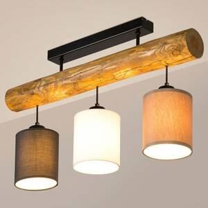 BRITOP Stropné svietidlo Sachiko drevený trám 3 tienidlá