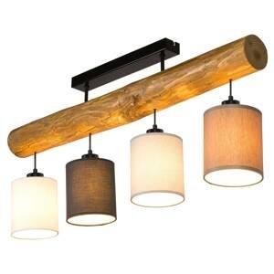 BRITOP Stropné svietidlo Sachiko drevený trám 4 tienidlá