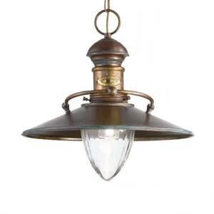 Cremasco Starožitná závesná lampa Scia, čiernená zelená