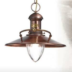 Cremasco Scia – starožitná závesná lampa v medenej