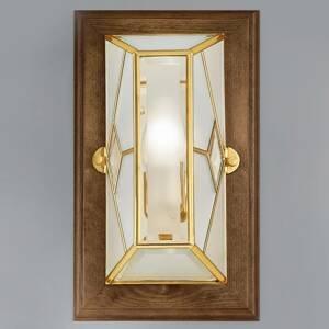 Cremasco Cordana – hranaté nástenné svietidlo, drevený rám