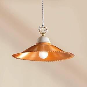 Ceramiche Luisa – medená závesná lampa s medeným tienidlom